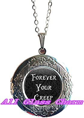 Beautiful Locket Necklace,Forever Your Creep Jewelry Gift for Loved One Horror Jewelry,AS0181