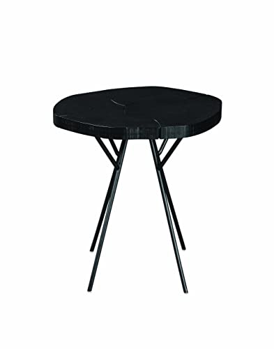 Scott Living Tree Trunk Slab Accent Table with Metal Legs Rustic Black and Matte Black