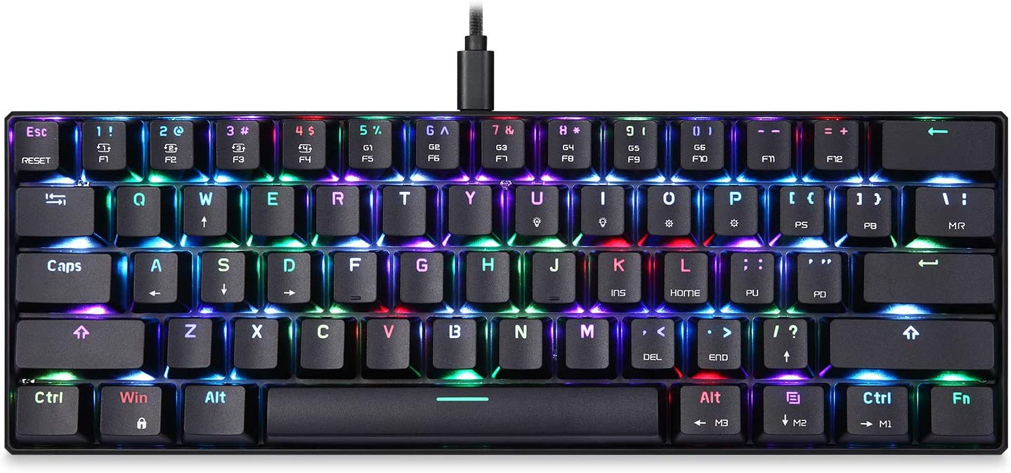 MOTOSPEED CK61 60% Mechanical Keyboard Portable 61 Keys RGB LED Backlit Type-C USB Wired Office/Gaming Keyboard for Mac, Android, Windows(Red Switch)