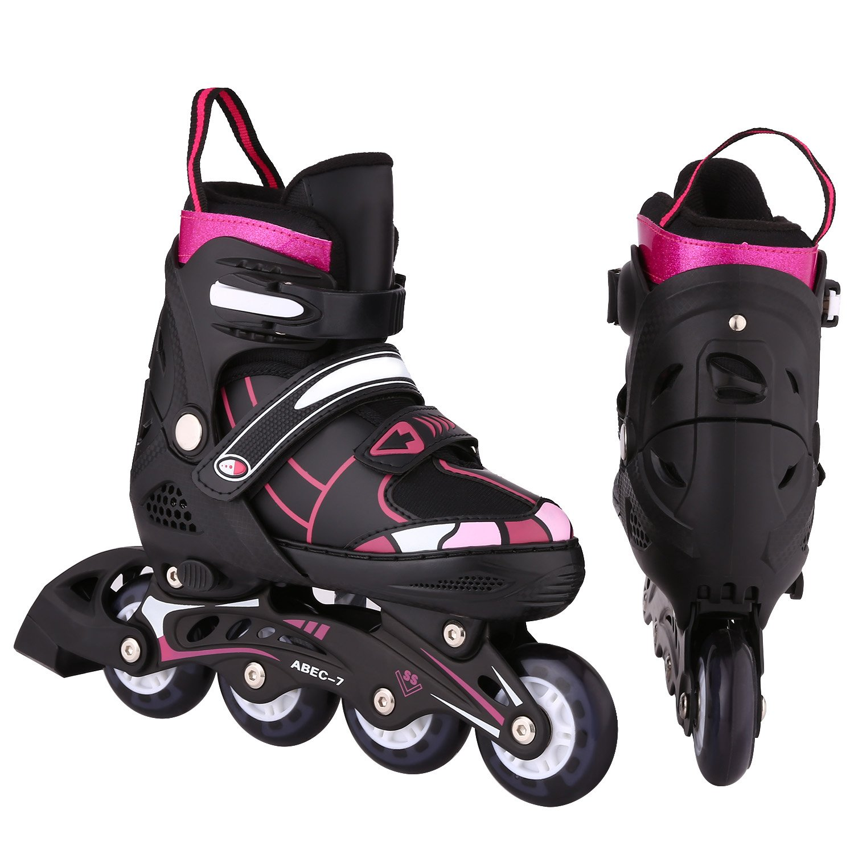 ANCHEER Girls Boys Inline Skates Adjustable for Kids Roller Skates Inline Skates for Women Men Urban Toddler Skating (Red, US 5-8)