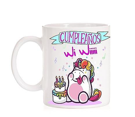 MardeTé Taza Feliz Cumpleaños Wi Wiii. Taza Divertida de ...