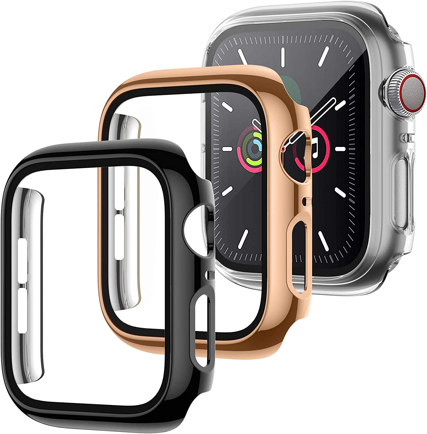 LORDSON 3 Pack Tempered Glass Screen Protector Case Compatible with Apple Watch SE/Series 6/5/4 44mm, Plated PC Protective Case Cover Bumper Compatible with iWatch Series SE/6/5/4