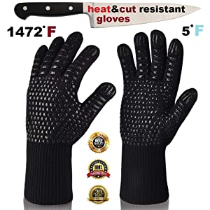 ARCTICA GRIPS Oven Frying Smoker Barbecue Grill BBQ Baking Cooking Grilling Gloves932 F Extreme Heat Rated Cut Fire Resistant Glove Indoor Outdoor Extra Long Cuff Kitchen Mitts for Men Women 1pair