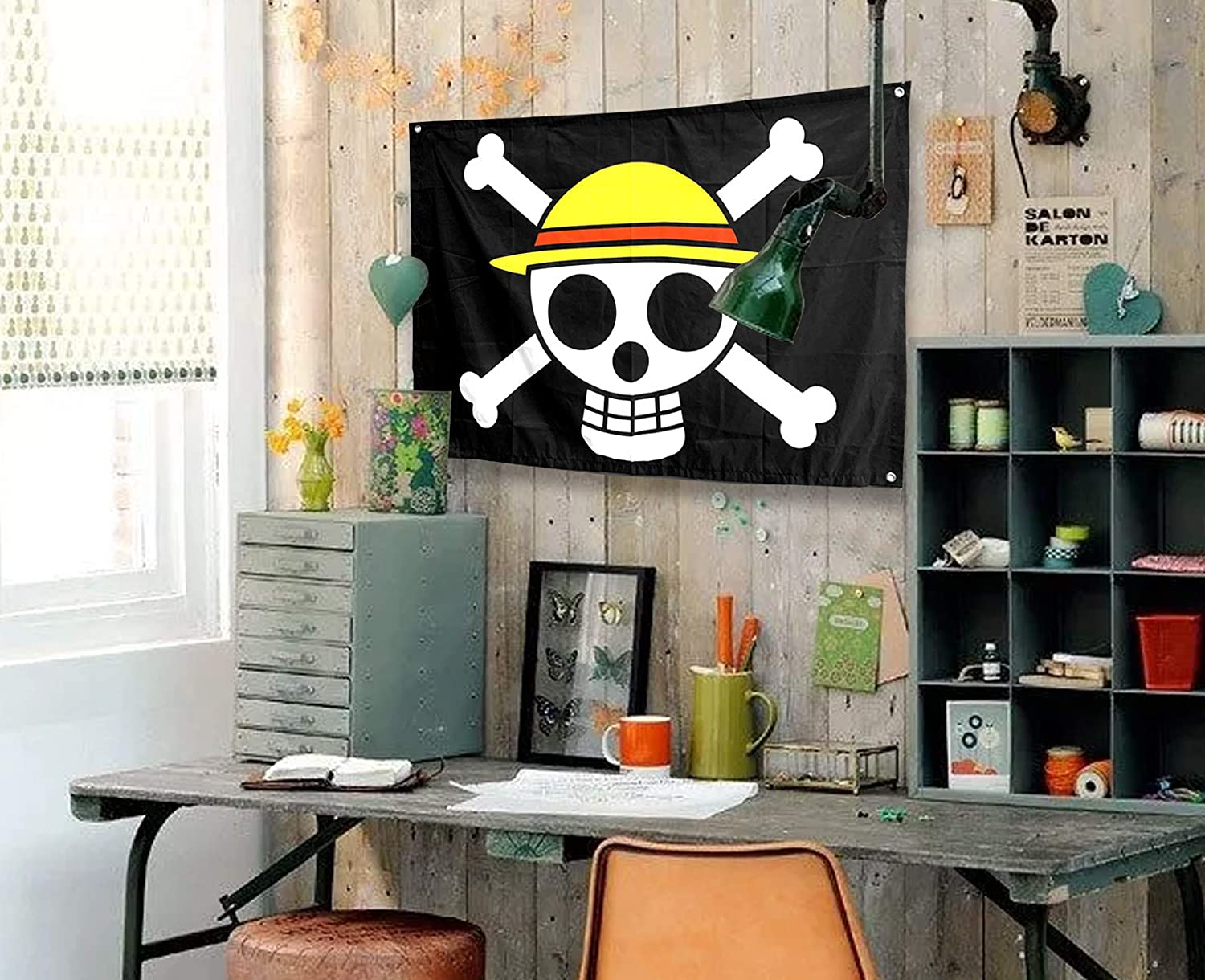 Sosolong Anime Room Decor One Piece Flag,Pirate Legion Flag,Wall Hanging Decor Boys Room Decor for Bedroom Living Room,Luffy's Straw Hat Pirate Flag (Luffy, 4330(in))