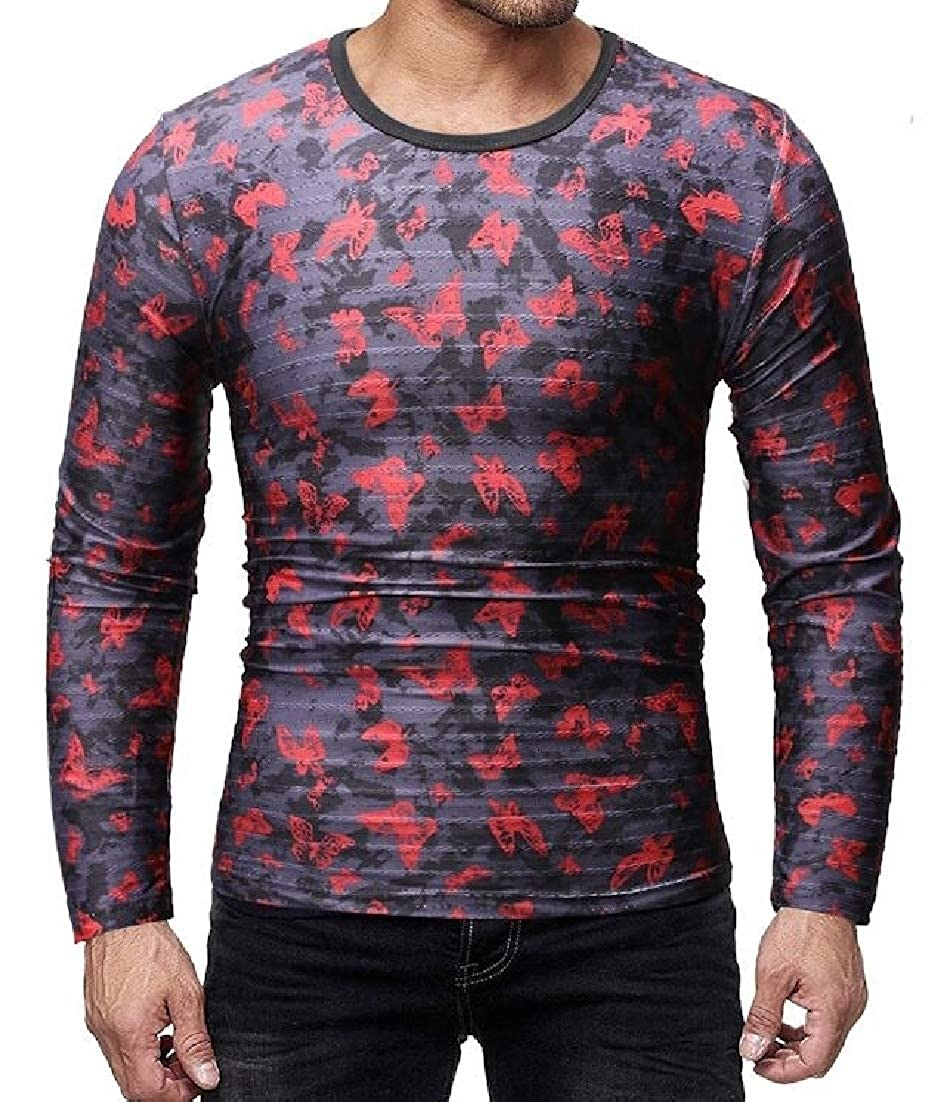 Wilngo Mens Round Neck Long Sleeve Nightclub Slim Fit Casual Hip-hop T-Shirts Tops
