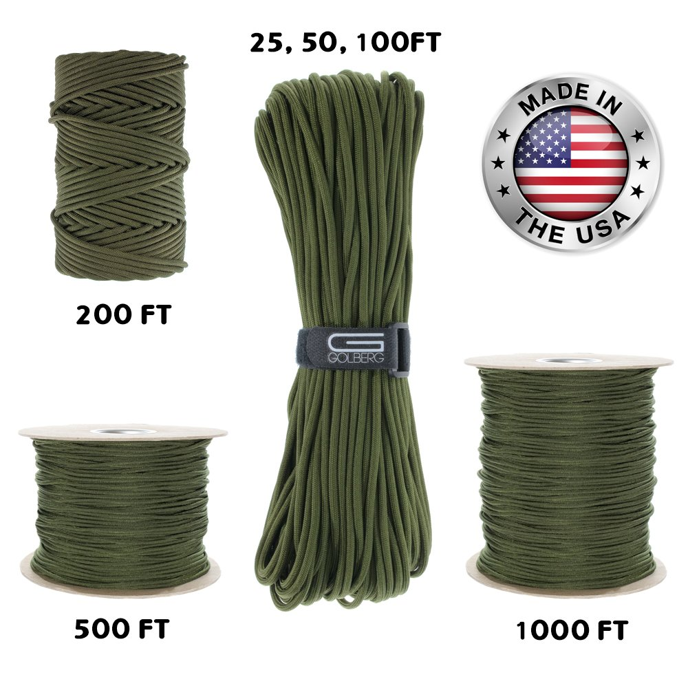 GOLBERG 550lb Parachute Cord Paracord - 100% Nylon USA Made Mil-Spec Type III Paracord - Used by The US Military - Multiple Colors & Lengths Available