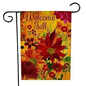 Garden Flag Double-Sided Farmhouse Autumn Yard Burlap Banner,Flag for Fall,Thanksgiving Indoor Outdoor Decoration 12.6