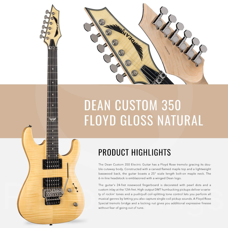 Dean Custom 350 Floyd guitarra eléctrica con puente Floyd Rose, brillo natural con afinador de clip y paquete de accesorios: Amazon.es: Instrumentos ...