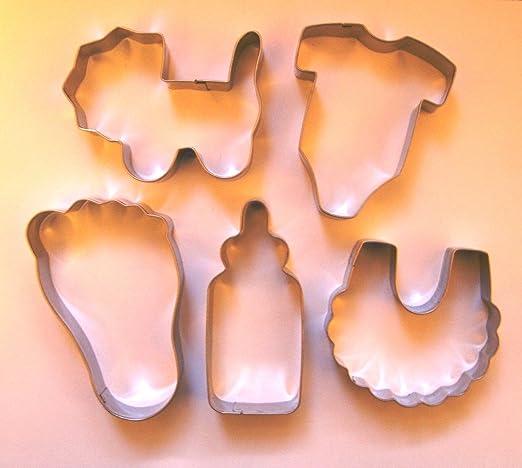 Bebé Tema cortador de galletas cochecito de bebé botella babero Onesie pie Set de galletas Fondant molde para hornear de acero inoxidable: Amazon.es: Hogar