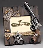"""Western Express Wanted 4""""x 6"""" Wood Photo Frame, Brown"""