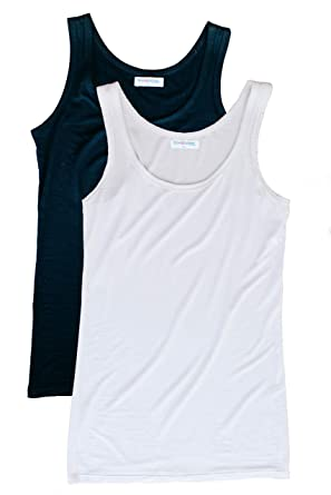 068d24082a39c4 Blue   Butter Women s Fitted Modal Tank Top 2-Pack (Black White ...