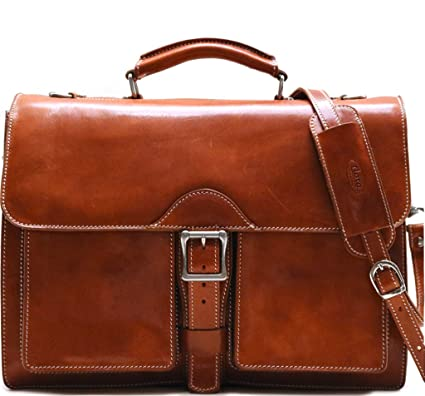 bc47a999b Amazon.com: Floto Novella Roller Buckle Briefcase Messenger Bag in Full  Grain Leather (Olive (Honey) Brown): Computers & Accessories
