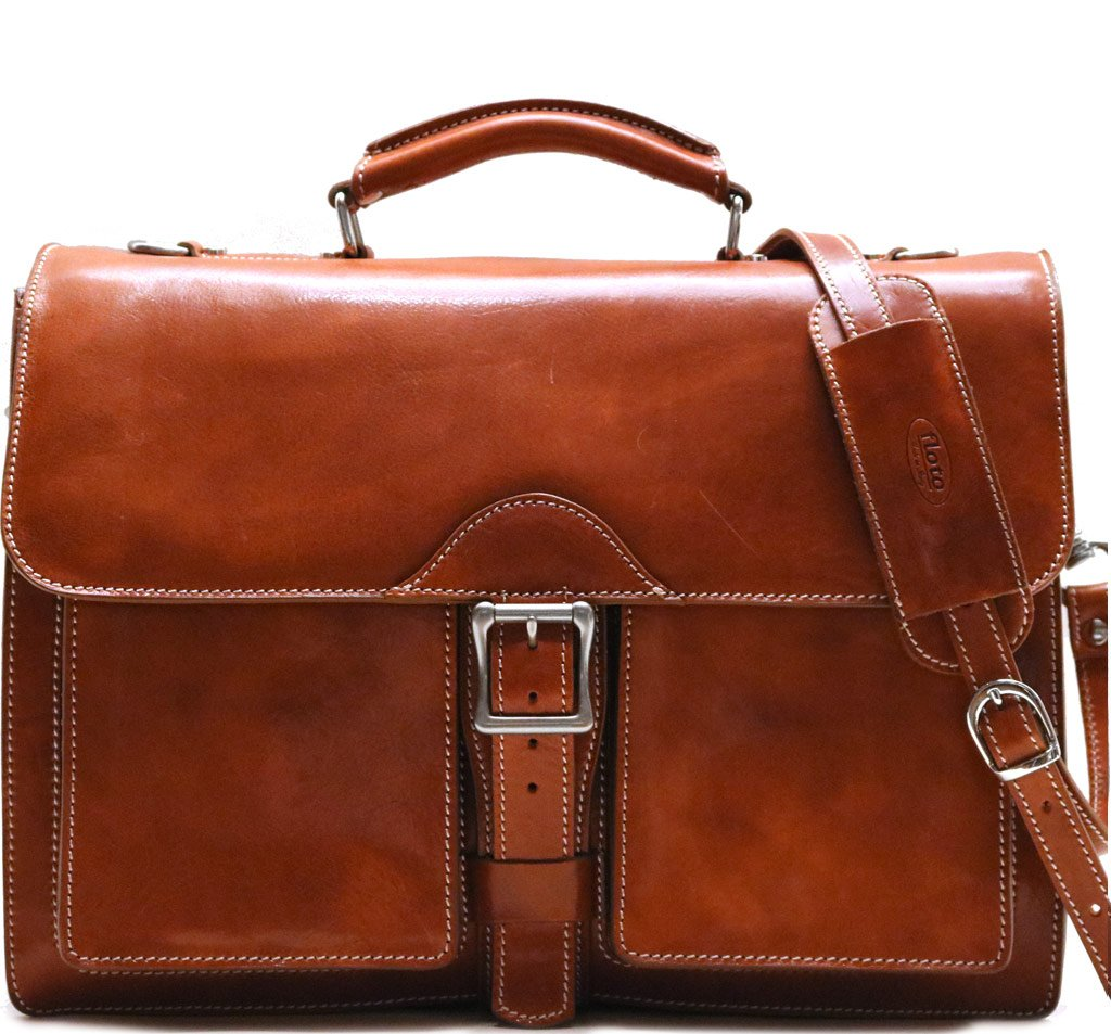 Floto Novella Roller Buckle Briefcase Messenger Bag in Full Grain Leather (Olive (Honey) Brown)