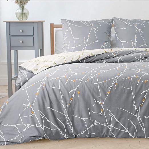 Bedsure Housse de Couette 240x260 cm Gris