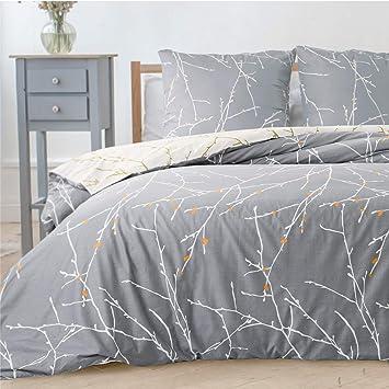 Bedsure Bettwäsche Grau Beige 135x200cm Bettbezug Mit Zweige Muster Super Weiche Atmungsaktive Mikrofaser Bettwäsche 2 Teilig Mit