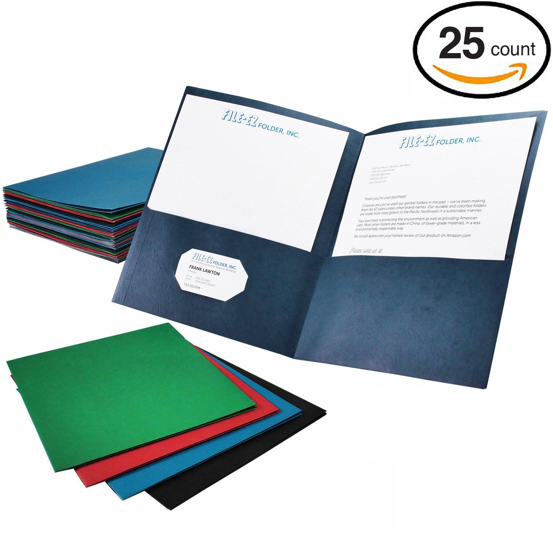 File-EZ Two-Pocket Folders, Assorted Colors, 25-Pack, Textured Paper, Letter Size (EZ-32500) by FILE-EZ (Image #1)