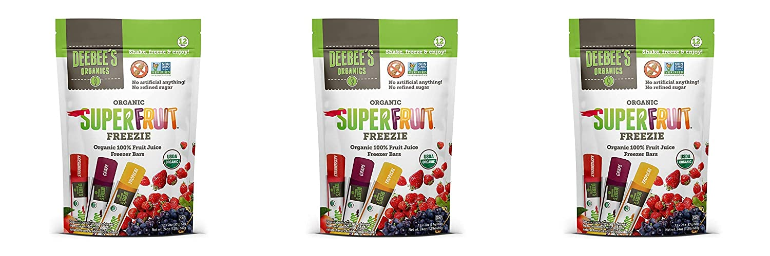 Deebee's 100% Organics Super Fruit Freezie Frozen Juice Bars, Grape, Strawberry And Tropical Fruit Popsicles, (Pack of 36)