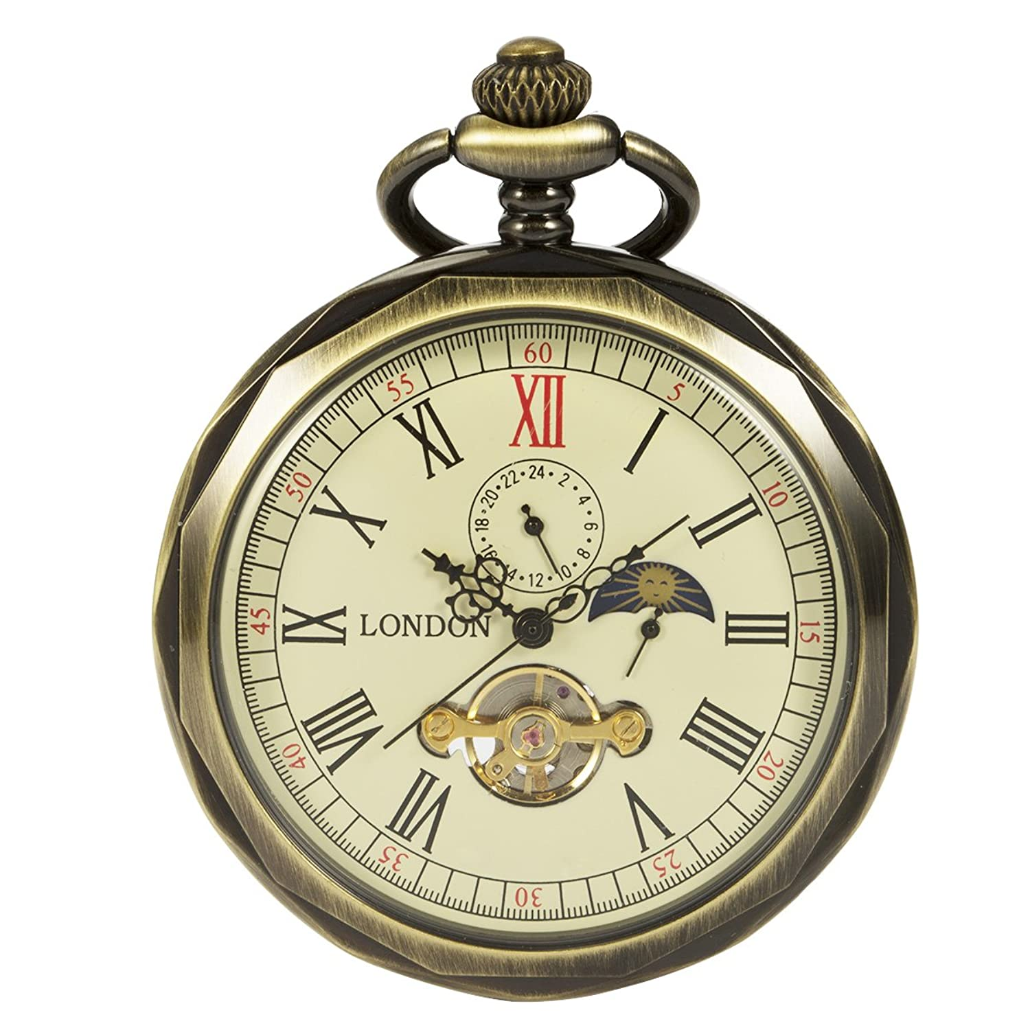 Mens pocket watches amazon manchda bronze roman numerals mechanical pocket watch open face with chain men 24 hour moon jeuxipadfo Image collections