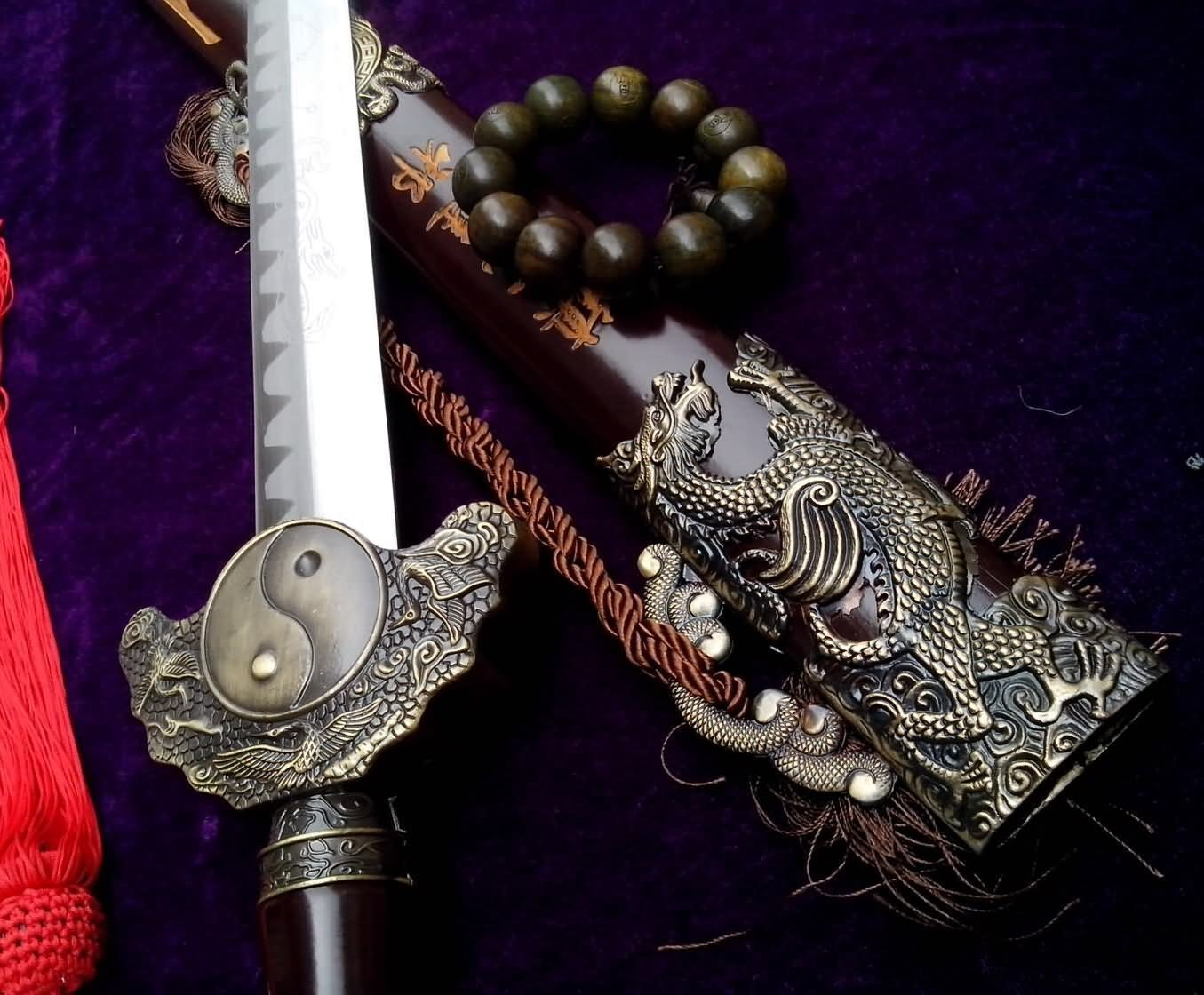 Chinese sword/Four images Tai Chi sword/Solid wood black matte paint/Carbon steel blade/Length 41''