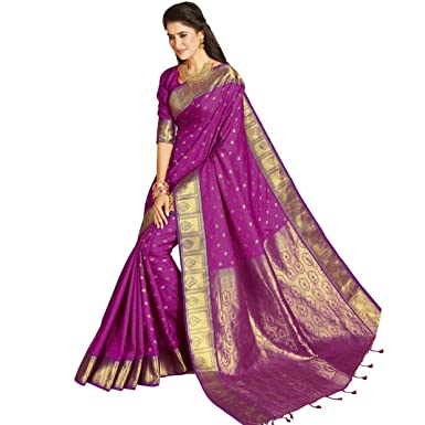 4fbcab2250 Image Unavailable. Image not available for. Colour: Craftsvilla Women's  Bangalore Silk Embossed Traditional Purple Saree ...