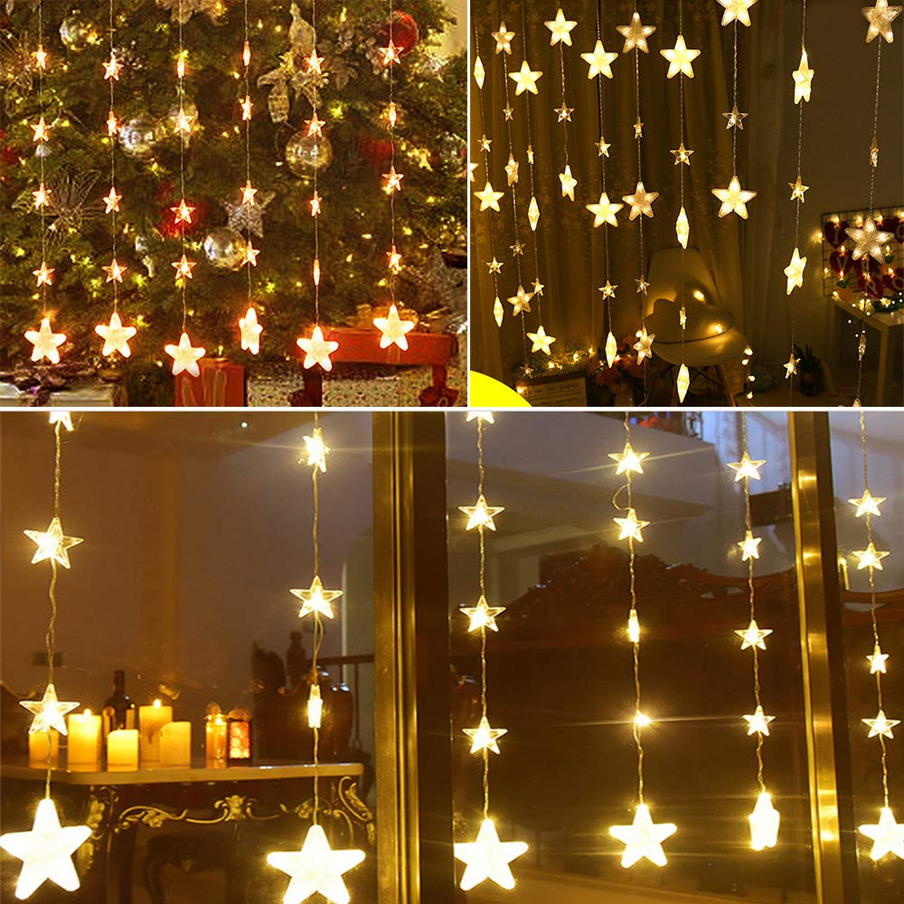 SHUDAGEღ•ღString Lights,Star Curtain Lights 40 Stars Lights Window String Lights Plug in Curtain String by SHUDAGE (Image #1)