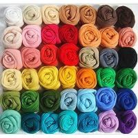 ULTNICE Women's Felting Wool Yarn Roving Fleece Spinning Fiber with 36 Assorted Colours