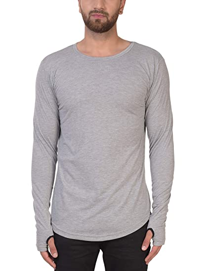 f8abfd9e69940 PAUSE Men s Solid Cotton Long Sleeve Round Neck Slim-Fit T-Shirt (Small