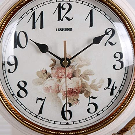Amazon.com : Family Fireplace Clocks Double-Sided Desk Watch Tablecloth Clocks Living Room European Style Resin Mute Quartz Clock Giraffe Bedside Clock ...