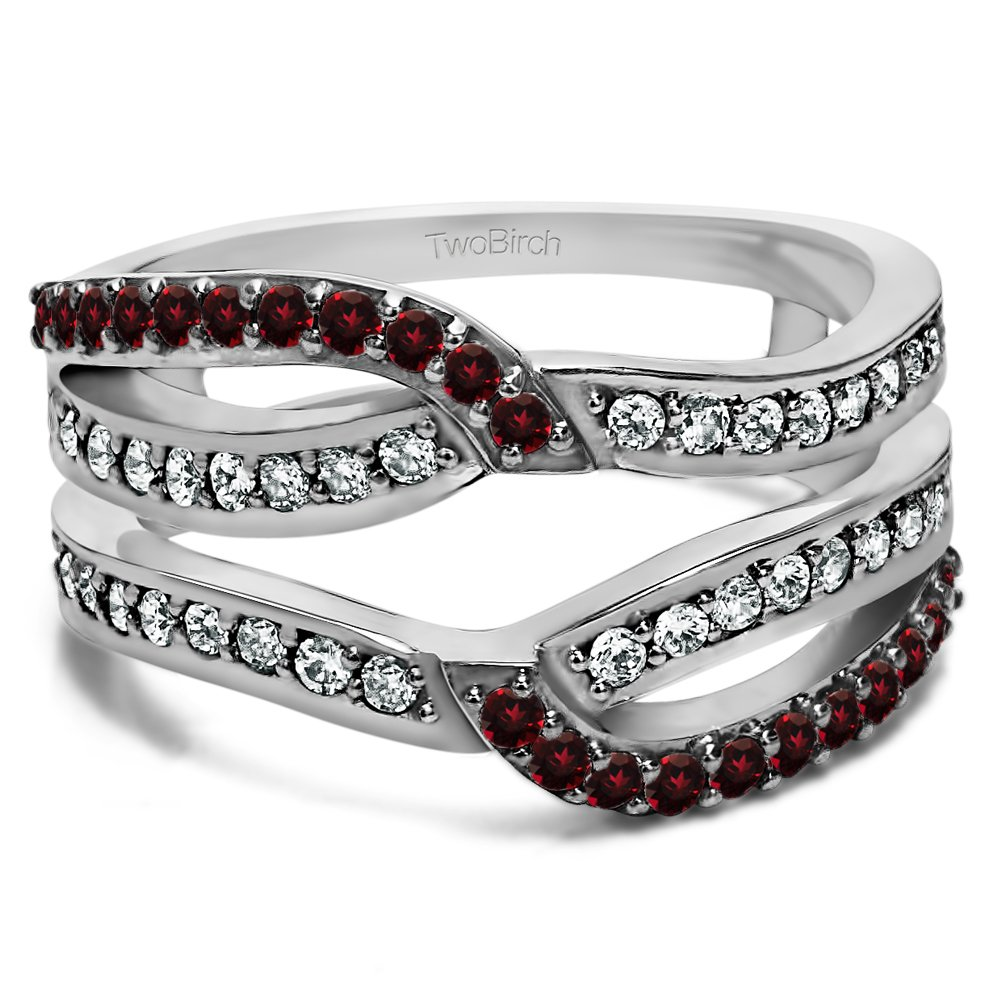 Diamond and Ruby Diamond and Ruby Infinity Wedding Ring Guard Enhancer set in Sterling Silver (0.78 Ct. Twt.)