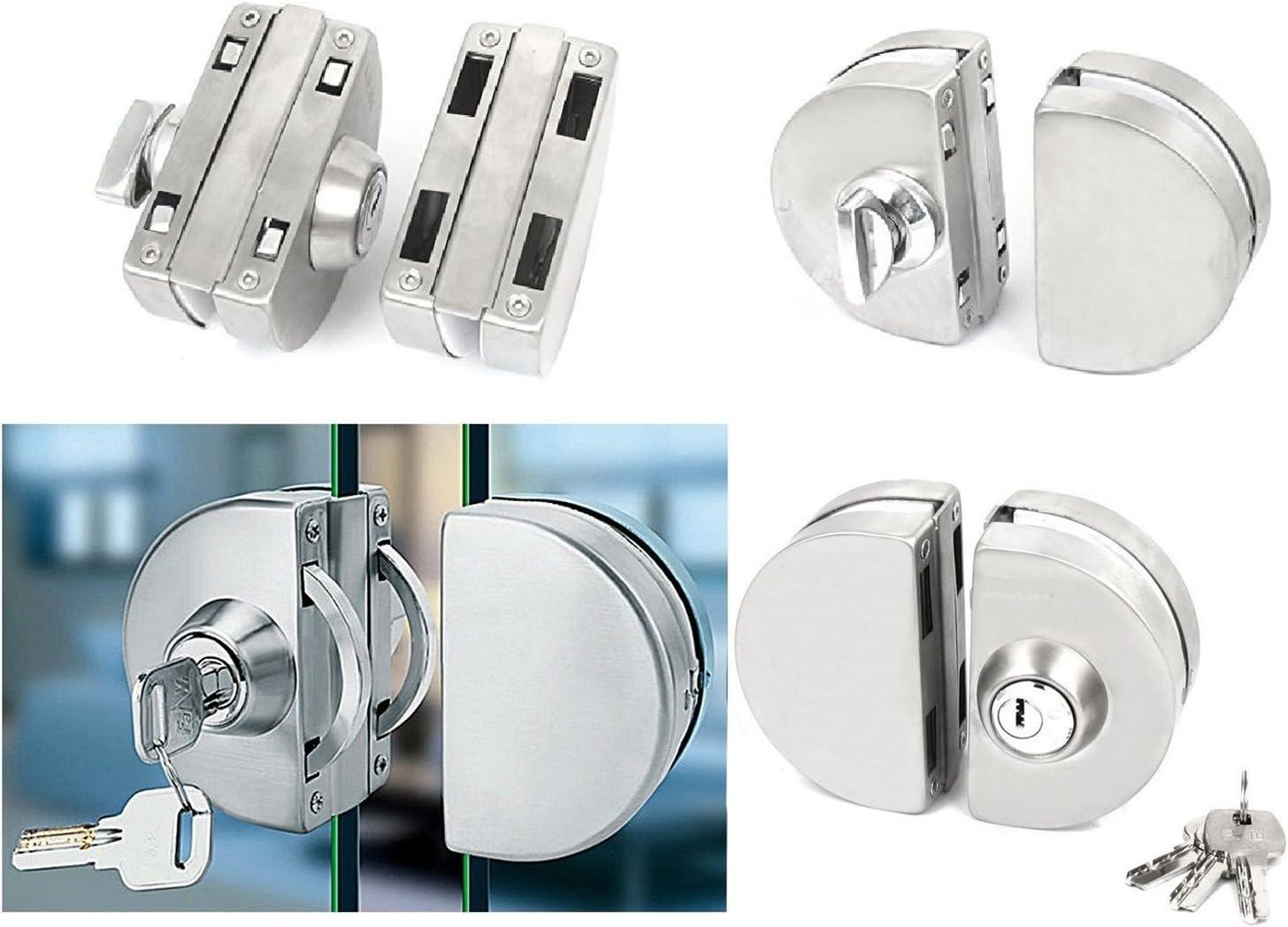 322 - Cerradura de puerta de cristal (doble perno de acero inoxidable): Amazon.es: Bricolaje y herramientas