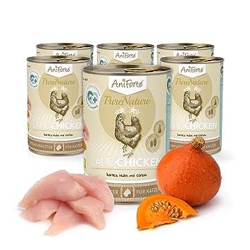 Comida Húmeda para Gatos Sin Cereales | 97% Carne de Pollo Tierno con Calabaza Country Chicken (6 x 400g) | Sin Granos Ni Conservantes | AniForte: ...