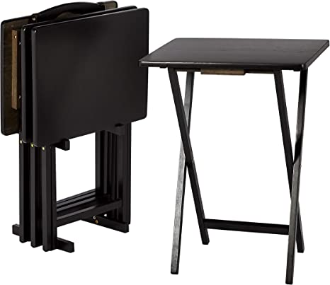 Wood Multi-Function Small Laptop Computer Desk with Metal Frame 2 Pack Black 18.8X14.9X26.1 inch TV Tray Table Folding Snack Table Portable Dinner Desk Sofa Side Table for Breakfast