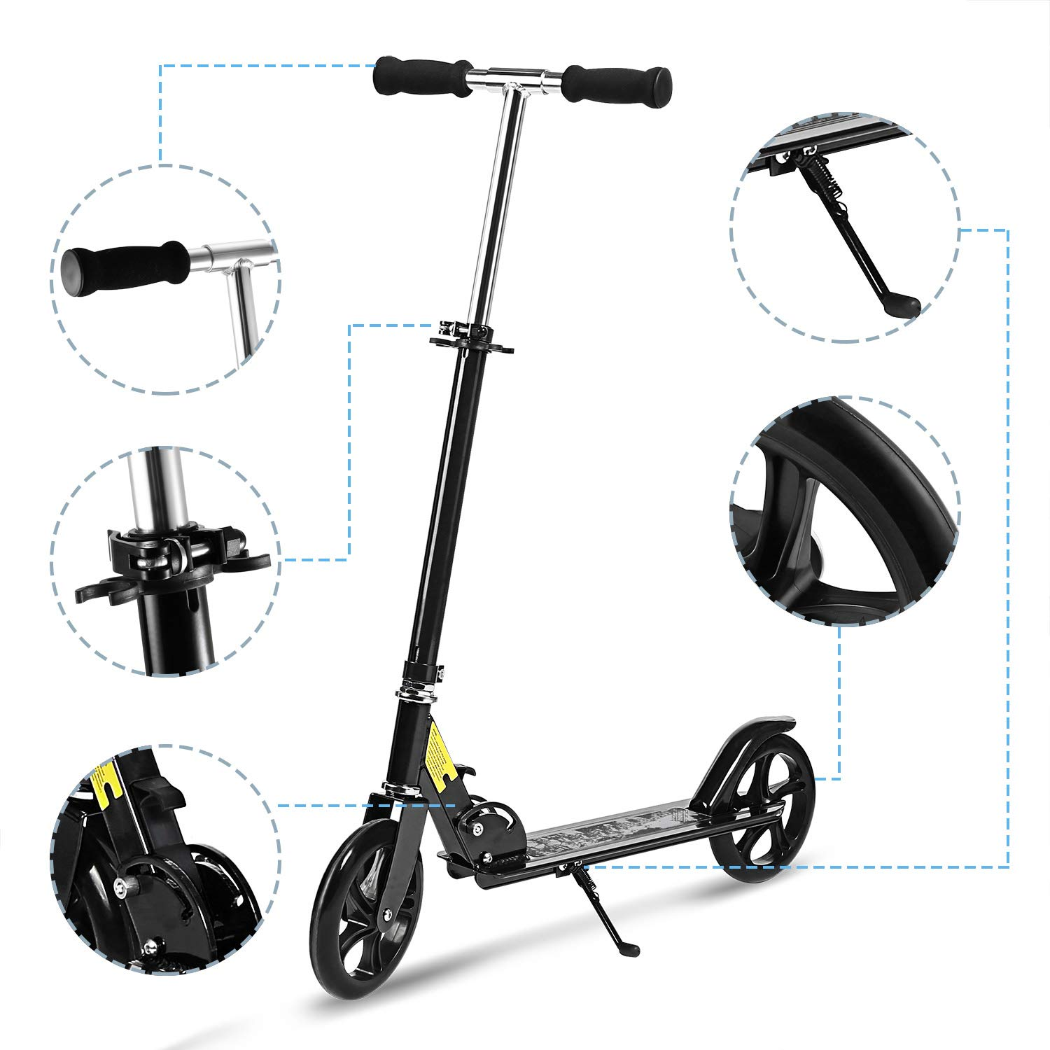 Hikole Scooter for Adult Youth Kids - Foldable Adjustable Portable Ultra-Lightweight   Teen Kick Scooter with Shoulder Strap, Birthday Gifts for Kids 8 Years Old and Up   Support 220 lbs by Hikole (Image #5)