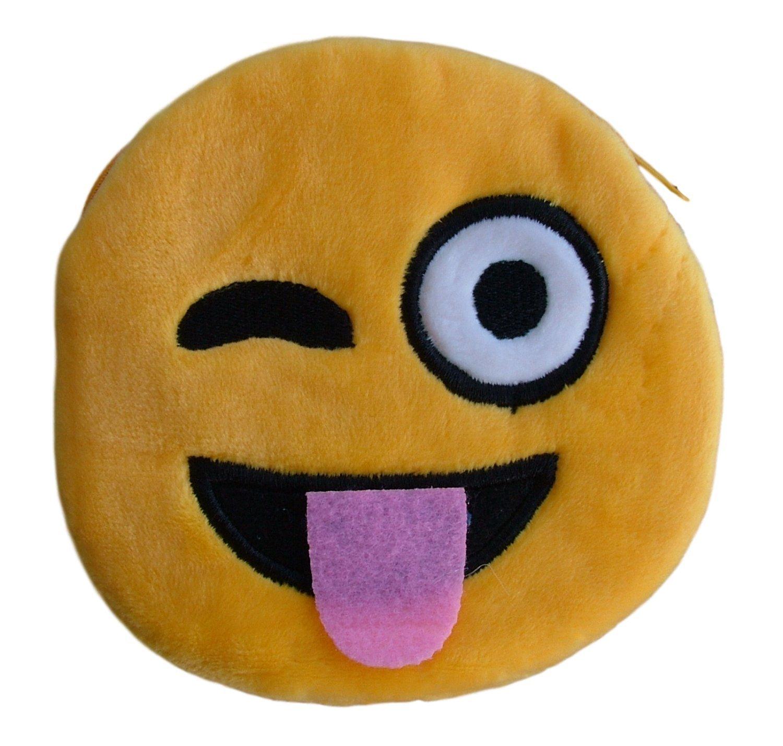 Bourse argent / Portefeuille / Porte-monnaie peluche, duveteux et soigné avec Design Emoji/émoticon (Smiley, Clin d'œil, Mauvais, Lunettes, Amour,…) pour les jeunes enfants (Filles, Garçons) et les adultes toujours jeunes (amour) Clin d'œil LB00091