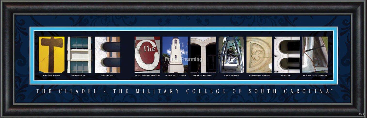 Prints Charming Letter Art Framed Print, The Citadel College-The Citadel, Bold Color Border