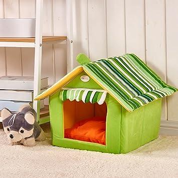 JeogYong Cama Perro, Lavable Forma de Casa Cama de Perro y Gato con Cojín Extraíble (Medium, Verde): Amazon.es: Productos para mascotas