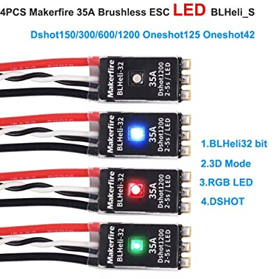 4pcs Makerfire 35A Brushless ESC LED BLHeli_S 2-5S Electronic Speed Controller RGB LED 3D Mode Support Dshot150/300/600/1200 Oneshot125 Oneshot42 MultiShot for RC FPV Racing Drone Quadcopter (35A)