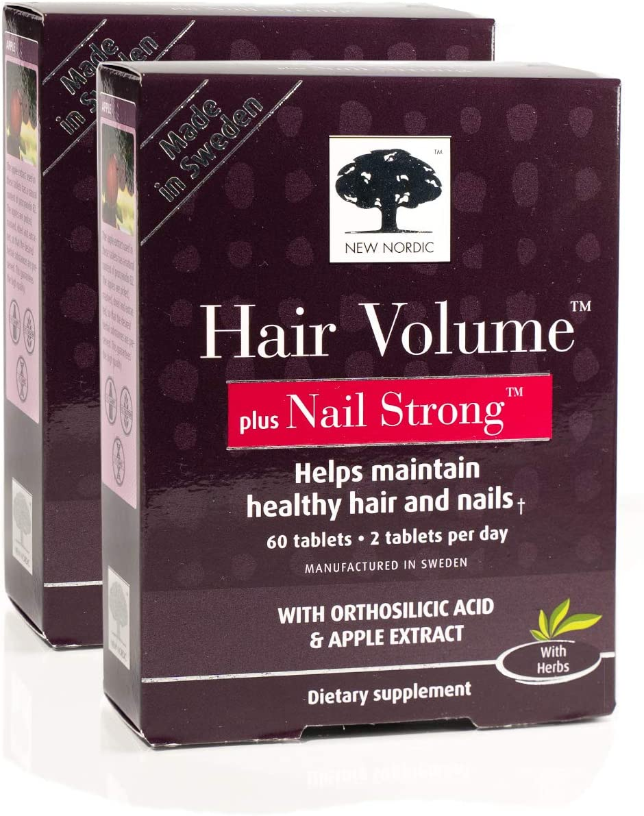 New Nordic Hair Volume w/Nail Strong, 60 Tablets (Pack of 2)