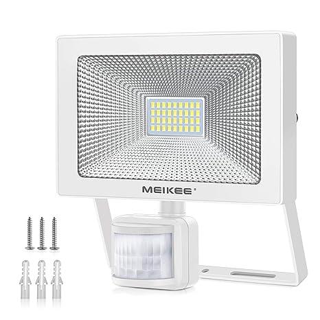 MEIKEE 30w Foco LED con Sensor Movimiento de 3000LM, Proyector LED exterior 6000K con detector