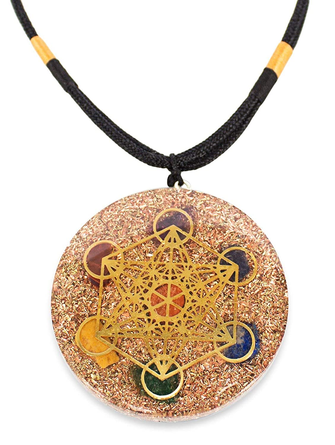 Reversible Orgonite Chakra Energy Web Merkaba 3 Chakra Orgone Pendant Generator – Revitalize Relax Chi-Lapis Lazuli, Carnelian Crystal necklace- Brass and Copper Tesla Coil Embedded