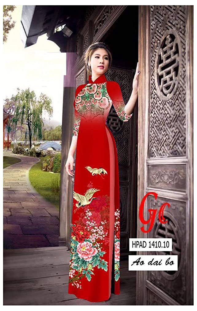 Traditional Vietnamese Long Dress Collections with Pants Ao Dai ADVN00410 Silk 3D All Size
