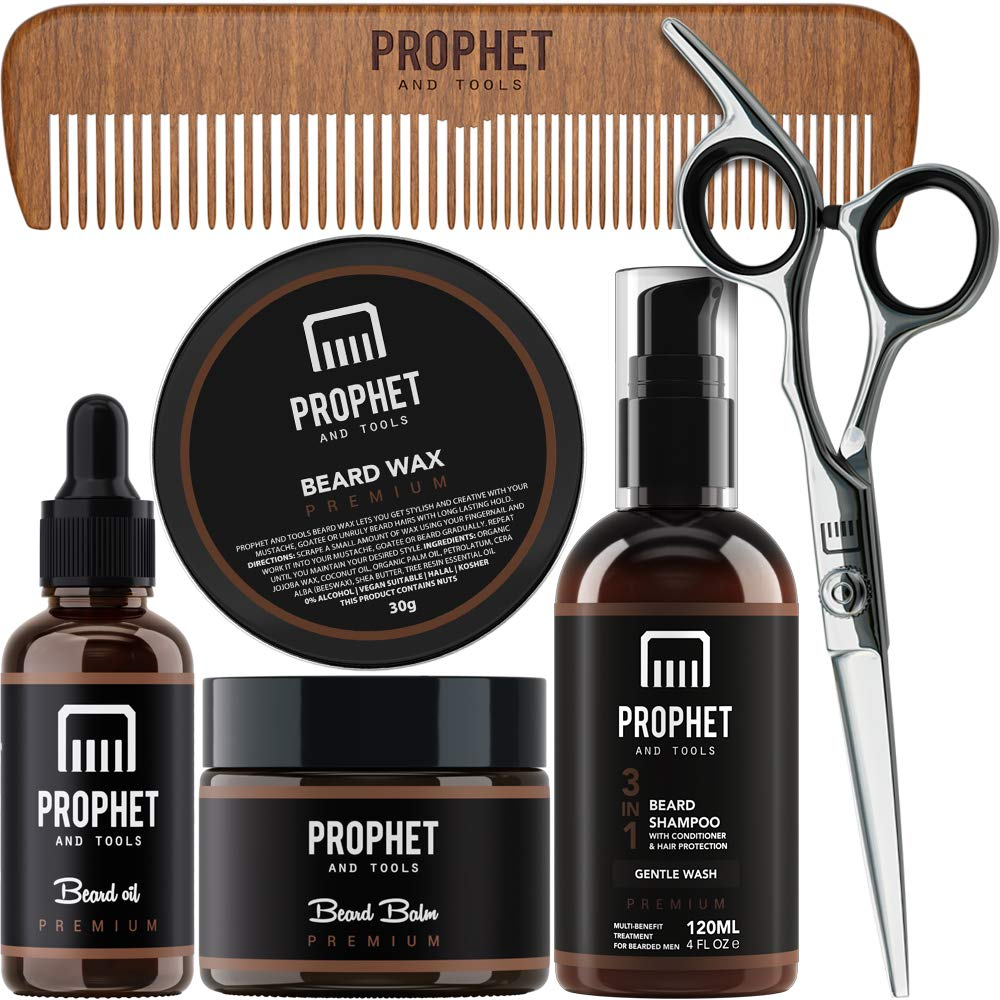PROPHET AND TOOLS Premium Gold Beard Grooming Essentials Packed with Beard Growth Oil, Beard Balm, Mustache Wax, Beard Shampoo & Conditioner, Sharp Scissors, and wooden comb - Best Kit for Men by Prophet and Tools