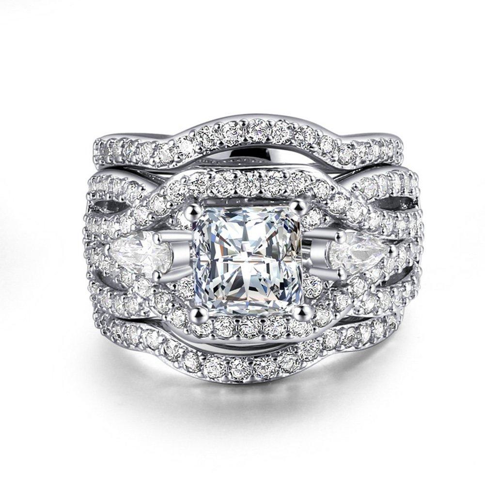 UOKOHO 3 PCS Platinum Plated Princess Cut Synthetic Diamond Halo Cubic Zirconia CZ Infinity Wedding Bridal Ring Set Size 7