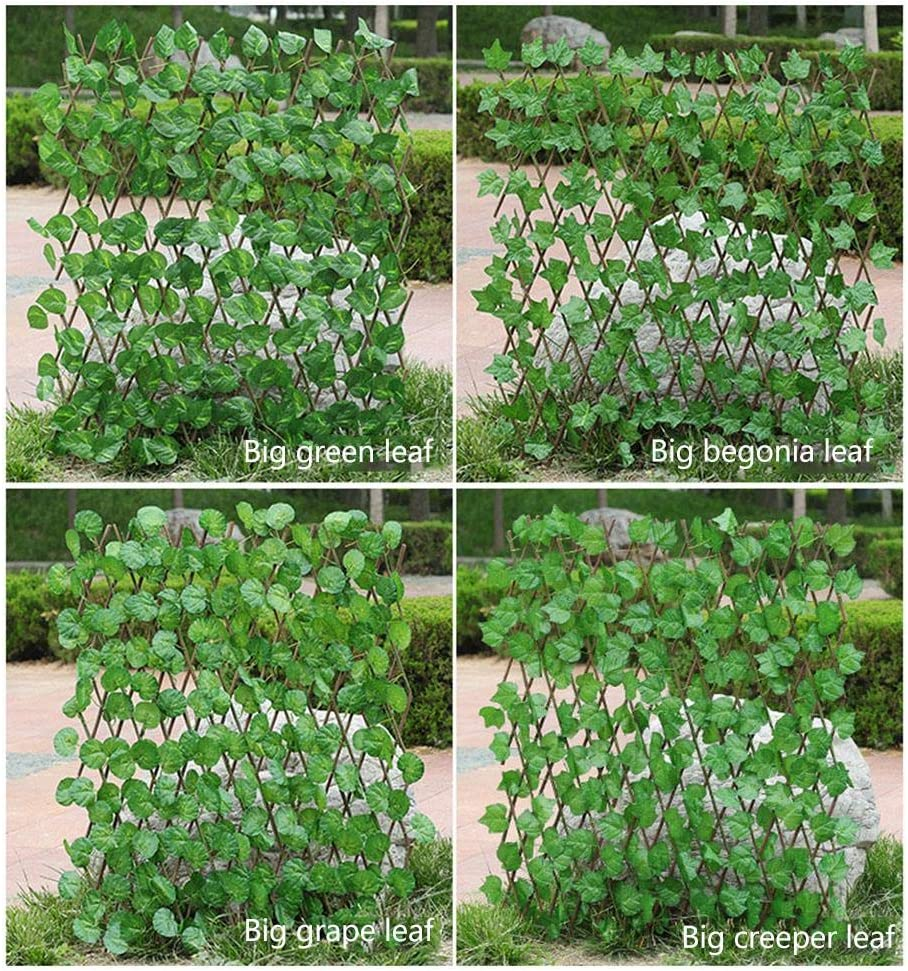 Artificial Garden Plant Fence Durable Simulation Leaf Fence Privacy Screen for Outdoor Indoor Garden Fence Backyard Home Decor Greenery Walls Retractable Wooden Fence