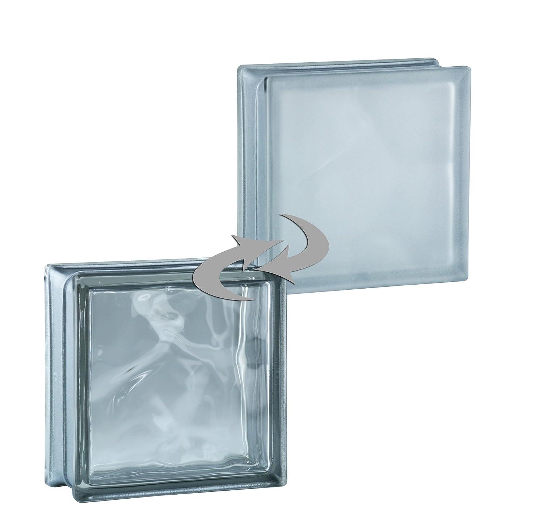 6 piezas BM bloques de vidrio wolke reflex antracita satinado por un lado (vidrio mate) 19x19x8 cm Fuchs Design