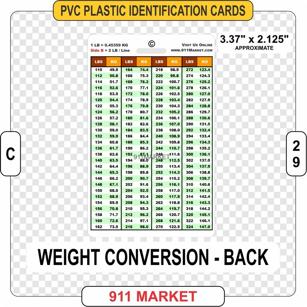 Amazon Weight Conversion PVC Plastic Card ID Tag LBS To KG Pounds Kilograms