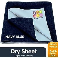 Bey Bee Just Dry Waterproof Single Bed Protector - Large (Dark Blue)