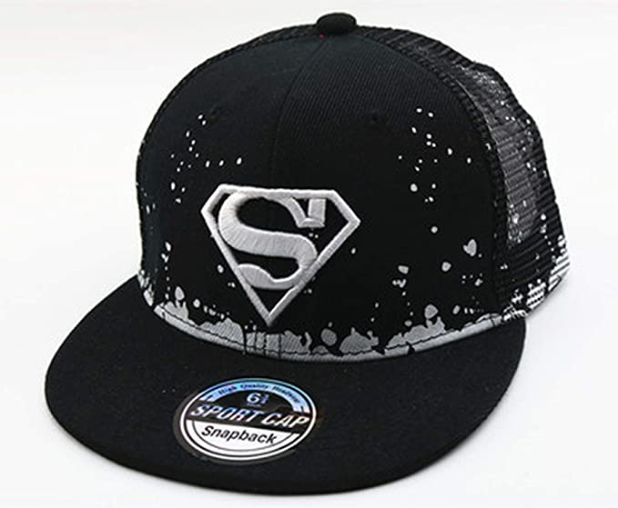 b494289a Image Unavailable. Image not available for. Color: Batman Superman Kids Baseball  Cap Flat Hat Boys Girls Hip Hop Hat Adjustable Point Dots Embroidery