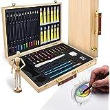 Artina Set Artistico in Valigetta Leonardo 45 unità: acrilici pennelli pastelli manichino, ECC. - per Pittura & Disegno