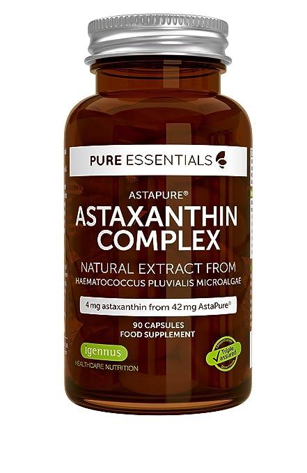 Pure Essentials Complejo Antioxidante de Astaxantina Natural, 4 mg de astaxantina 42 mg de AstaPure